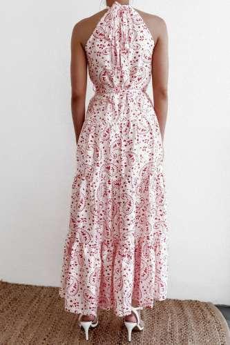 Fashion Print Round neck Sleeveless Lacing Maxi Dresses
