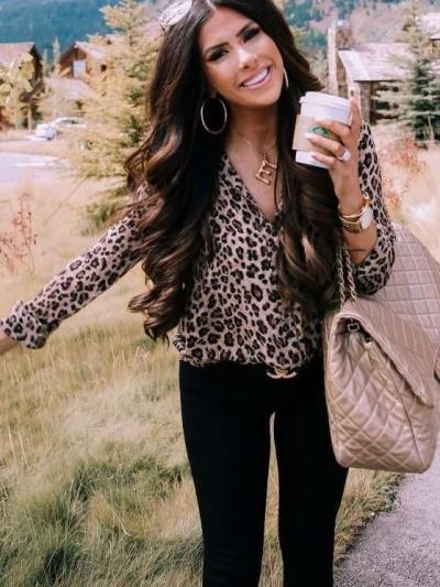 Fashion Leopard print Fastener Long sleeve Blouses