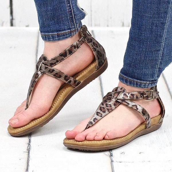 Leopard printed flat heels Roman shoes sandals for women