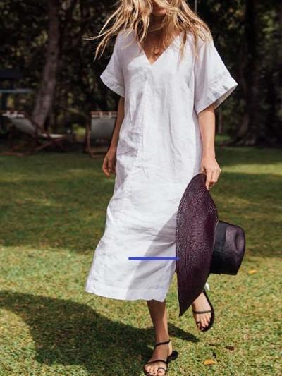 Casual Pure V neck Short sleeve Vent Maxi Dresses
