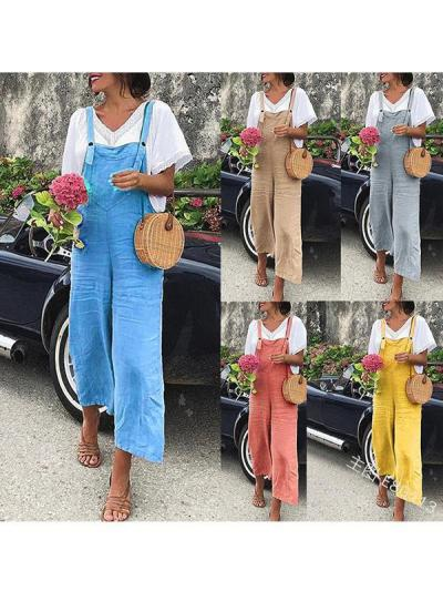 Loose casual plain women long jumpsuits