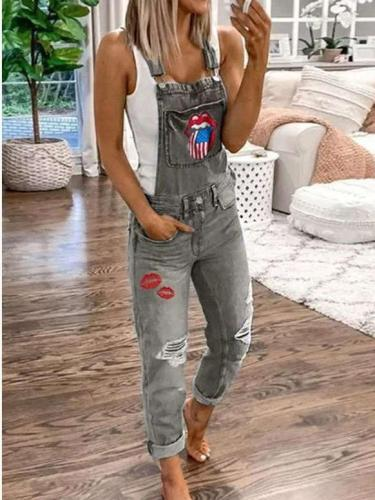 Fashion Print Jeans Jumpsuits