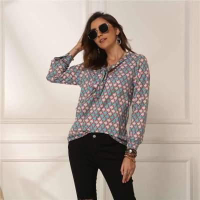 Fashion Lacing Print Long sleeve Blouses