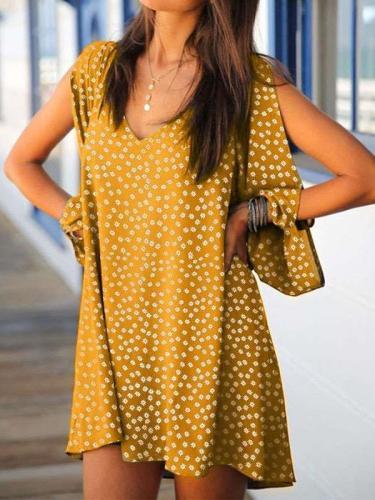Casual Loose Point print V neck Long sleeve Off shoulder Shift Dresses