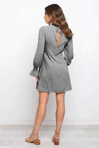 Fashion Casual Plaid Round neck Long sleeve Plicated Skater Dresses