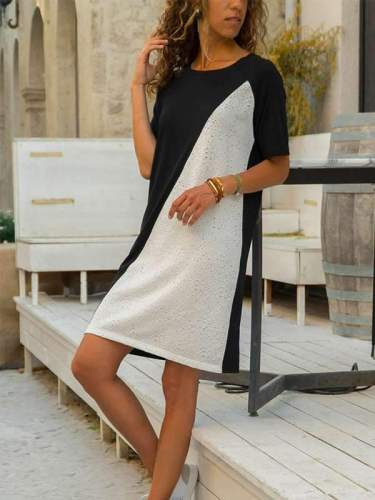 Short Sleeve Round Neck Matching Color A-line Casual Shift Dresses