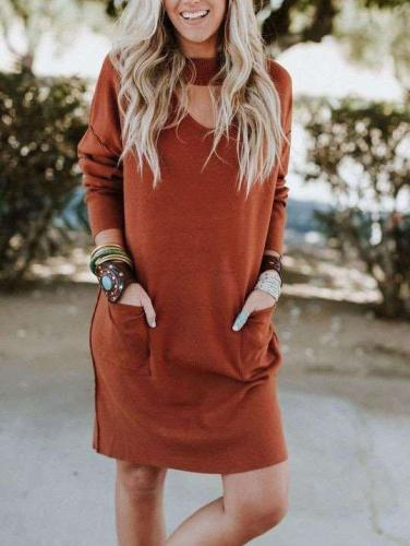 Fashion Loose Round neck Long sleeve Pocket Shift Dresses