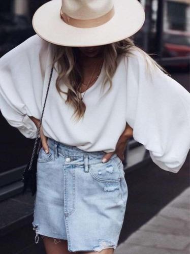 Fashion V neck Puff sleeve  Chiffon T-Shirts