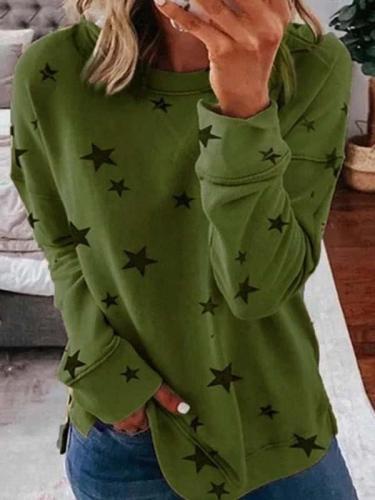 Star printed women fashion round neck long sleeve T-shirts