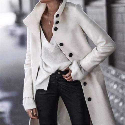 Fashion Stand collar Long sleeve Coats