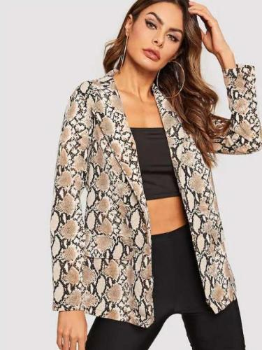 Sexy Serpentine printing Long sleeve Blazer