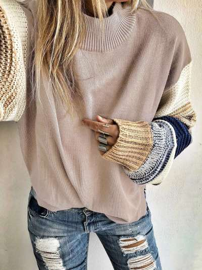 Pure Round neck Knit Long sleeve Sweaters