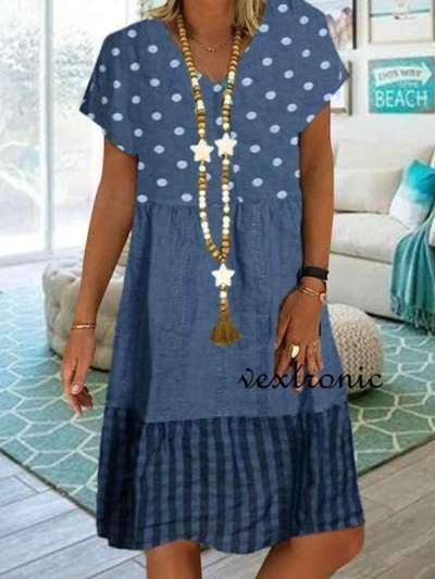 Women's v-neck short sleeve wave point stitching loose Shift dresses