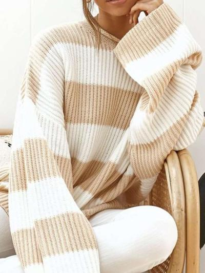 Loose Casual Round neck Stripe Knit Sweaters