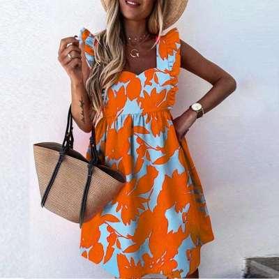 Fashion Casual Print Gored Sleeveless Square collar Falbala Shift Dresses