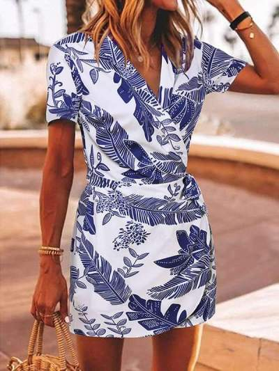 Leaf printed one-piece skirt vacation dresses