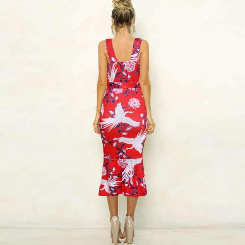 Fashion Sexy Print V neck Vest Falbala Bodycon Dresses
