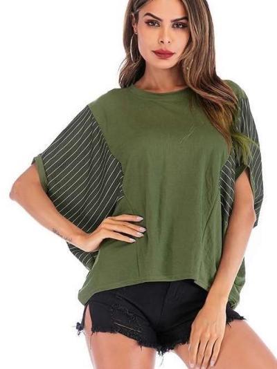 Stripe Gored Round neck Loose T-Shirts