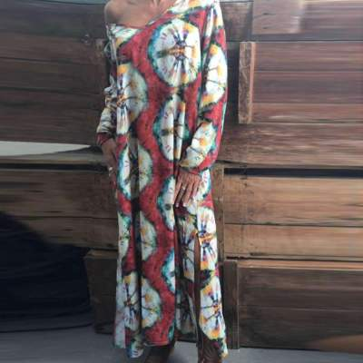 Loose Plus Print V neck Long sleeve Maxi Dresses