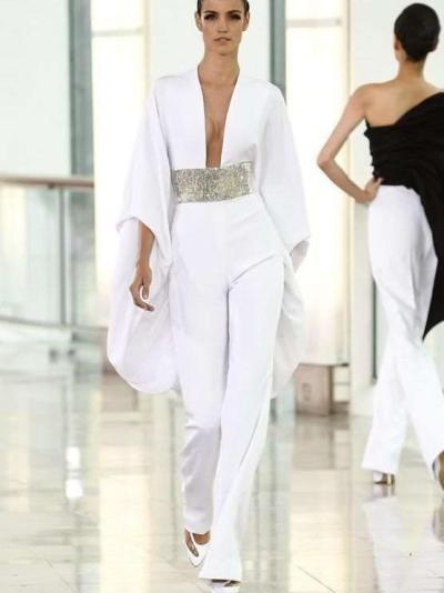 Sexy V neck Pure Long sleeve Tee Jumpsuits