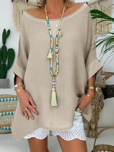 Loose casual long sleeve solid T-shirts