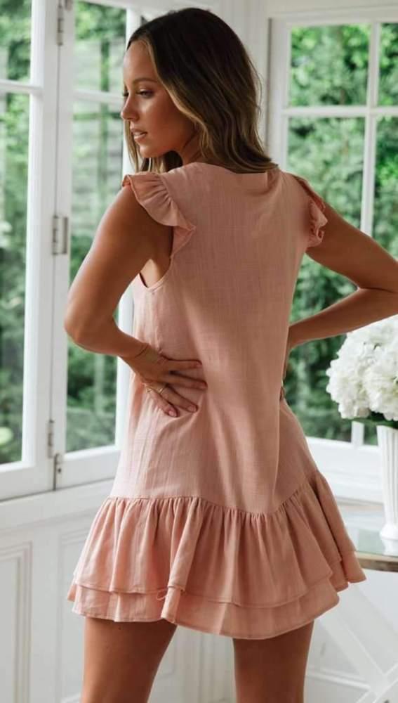 V neck Sleeveless Fastener  Falbala Shift Dresses
