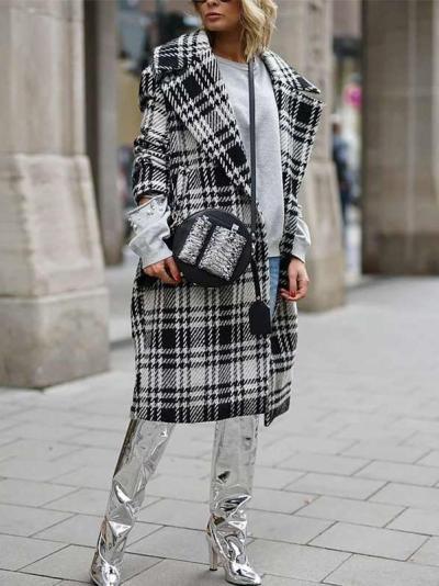 Fashion Plaid Lapel Long sleeve Coats