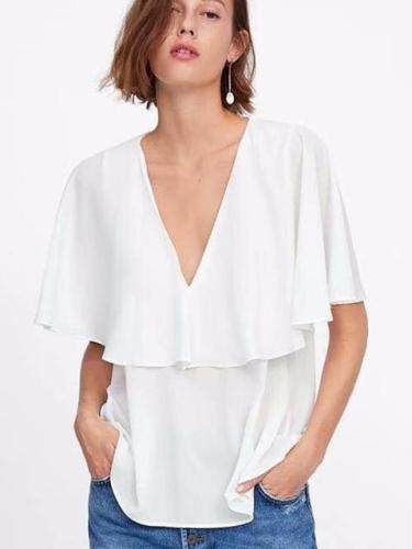 Fashion V neck Cloak sleeves Chiffon T-Shirts