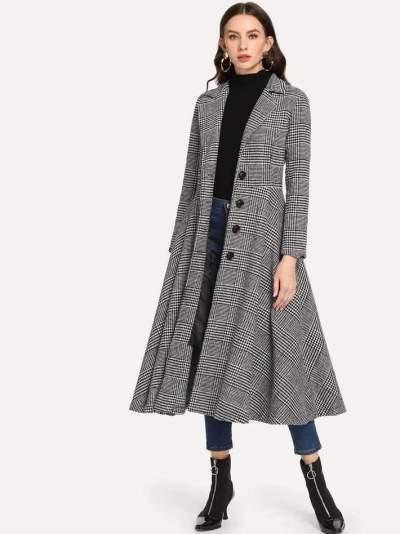 Fashion Pure Lapel Long sleeve Coat Dress