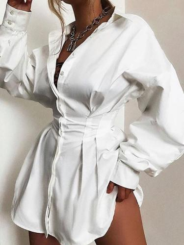 Solid color deep V neck waist sexy shirt shift dresses