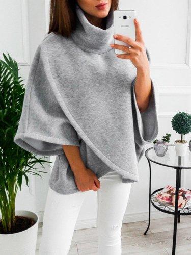 Wool High Collar Long Sleeve Cape Coats