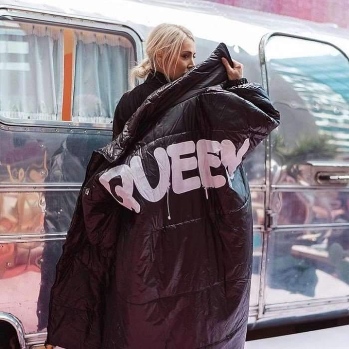 Fashion Word print Stand collar Warm Coats