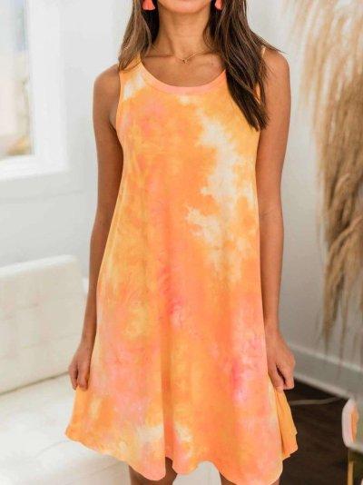 Fashion Round neck Sleeveless Shift Dresses
