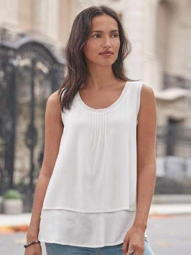Round neck Sleeveless Chiffon T-Shirts