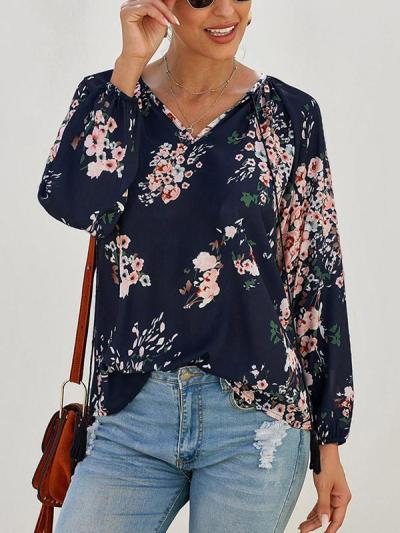 Loose floral print long sleeve large v-neck women Blouses