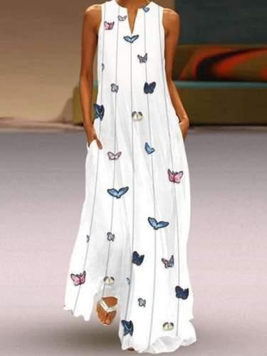 Butterfly Printed Plain v-neck Bohemian sleeveless Maxi dresses