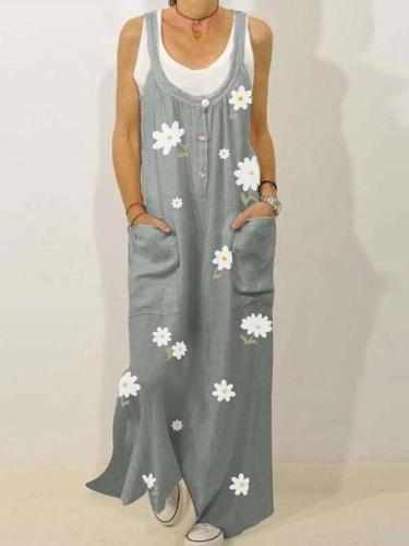 Casual Print Vest Round neck Fastener Pocket Maxi Dresses