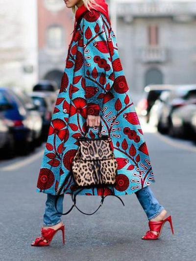 Fashionable printed long coat