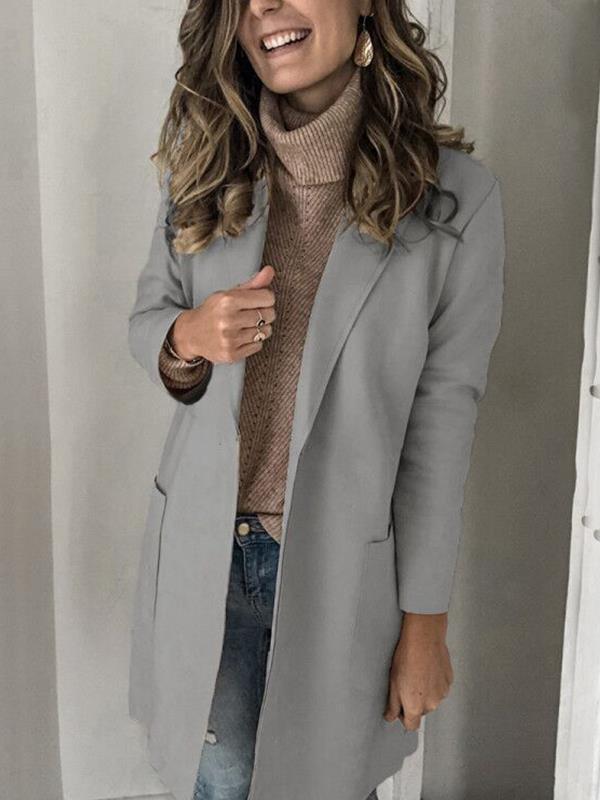 Simple long sleeved big lapel pocket woolen coats