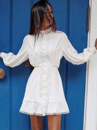 Fashion Sexy Pure High collar Long sleeve Hollow out Skater Dresses