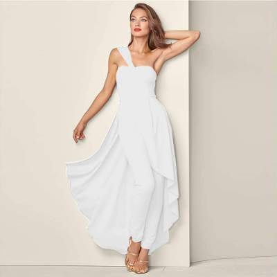 Sexy Pure Single shoulder Jumpsuits Evening Dresses