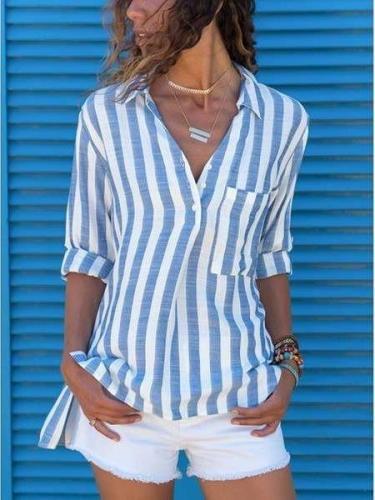 Casual V-Neck Long Sleeve Stripe Women's Blouse