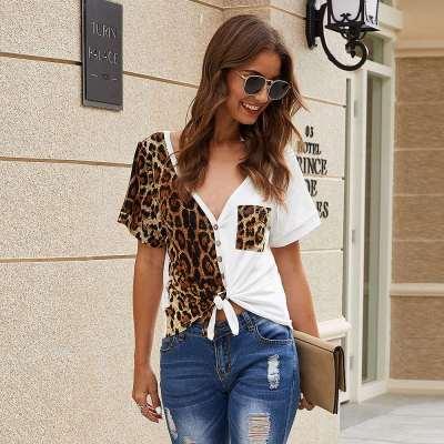 Fashion V neck Gored Leopaed print Short sleeve Fastener T-Shirts