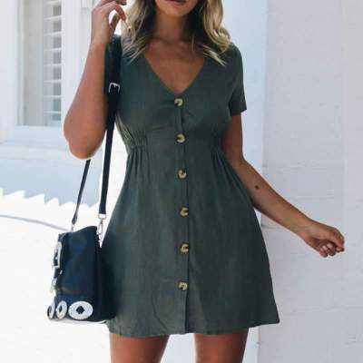 Casual Pure V neck Short sleeve Fastener Shift Dresses
