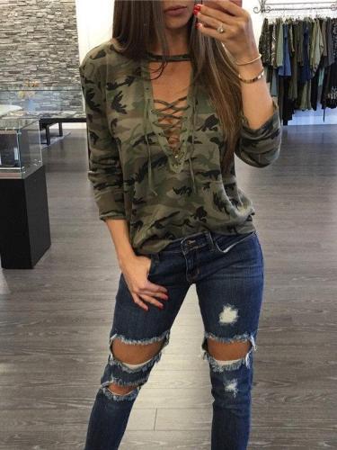 Fashion  Camouflage V neck Long sleeve T-Shirts