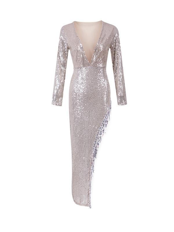 Sexy Deep v neeck long sleeve slit asymmetrical dress
