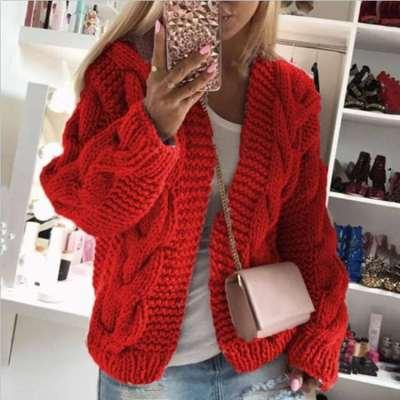 Fashion Pure Hoodie Long sleeve Knit Cardigan