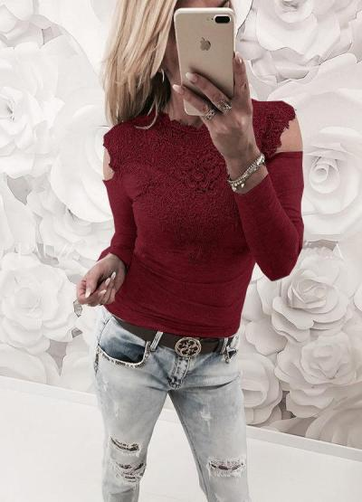 Lace Gored Long sleeve T-Shirts