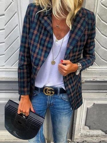Stylish Plaid Long-Sleeve Suit