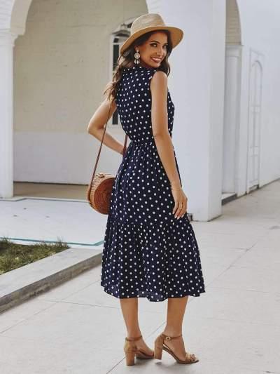 Fashion Point print V neck Lacing Maxi Dresses